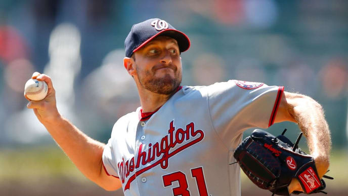 ATLANTA, GA - SEPTEMBER 8: Max Scherzer #31 of the Washington Nationals pitches in the first inning of an MLB game against the Atlanta Braves at SunTrust Park on September 8, 2019 in Atlanta, Georgia. (Photo by Todd Kirkland/Getty Images)