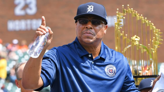 DETROIT, MI - JUNE 29:  Former Detroit Tigers second baseman Lou Whitaker waves to the crowd during the ceremony to honor the 35th anniversary of the 1984 Detroit Tigers world championship team prior to the game against the Washington Nationals at Comerica Park on June 29, 2019 in Detroit, Michigan. The Tigers defeated the Nationals 7-5.  (Photo by Mark Cunningham/MLB Photos via Getty Images)