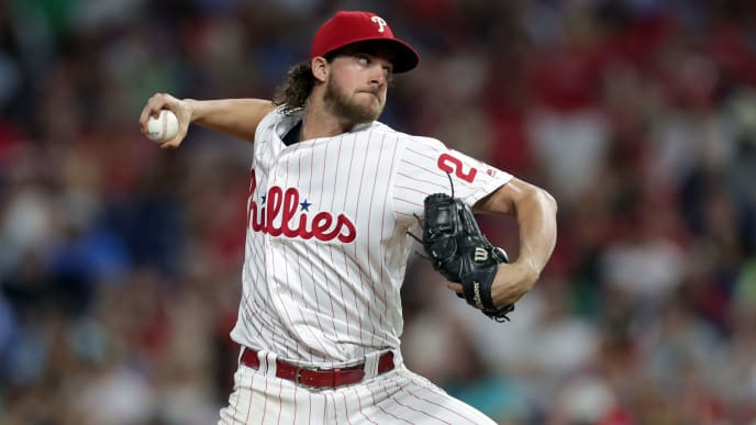 PHILADELPHIA, PA - JULY 13: Starting pitcher Aaron Nola #27 of the Philadelphia Phillies throws a pitch in the fifth inning during a game against the Washington Nationals at Citizens Bank Park on July 13, 2019 in Philadelphia, Pennsylvania. The Nationals won 4-3. (Photo by Hunter Martin/Getty Images)