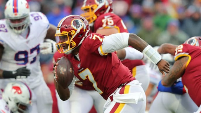 ORCHARD PARK, NY - NOVEMBER 03:  Dwayne Haskins #7 of the Washington Redskins runs the ball during a game against the Buffalo Bills at New Era Field on November 3, 2019 in Orchard Park, New York.  Buffalo beats Washington 24 to 9. (Photo by Timothy T Ludwig/Getty Images)