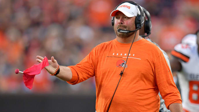 CLEVELAND, OHIO - AUGUST 08: Head coach Freddie Kitchens of the Cleveland Browns tosses the challenge flag during the first half of a preseason game against the Washington Redskins at FirstEnergy Stadium on August 08, 2019 in Cleveland, Ohio. (Photo by Jason Miller/Getty Images)
