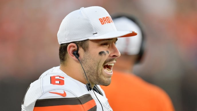CLEVELAND, OHIO - AUGUST 08: Quarterback Baker Mayfield #6 of the Cleveland Browns yells to his teammates during the first half of a preseason game against the Washington Redskins at FirstEnergy Stadium on August 08, 2019 in Cleveland, Ohio. (Photo by Jason Miller/Getty Images)