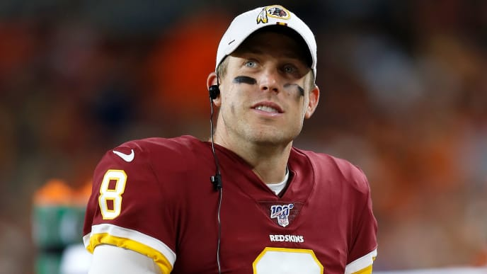 CLEVELAND, OH - AUGUST 8:  Case Keenum #8 of the Washington Redskins looks up at the scoreboard while standing on the sideline during the second quarter of the game against the Cleveland Browns at FirstEnergy Stadium on August 8, 2019 in Cleveland, Ohio. (Photo by Kirk Irwin/Getty Images)