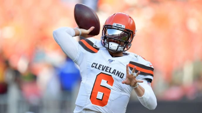 CLEVELAND, OHIO - AUGUST 08: Quarterback Baker Mayfield #6 of the Cleveland Browns warms up prior to a preseason game against the Washington Redskins at FirstEnergy Stadium on August 08, 2019 in Cleveland, Ohio. (Photo by Jason Miller/Getty Images)