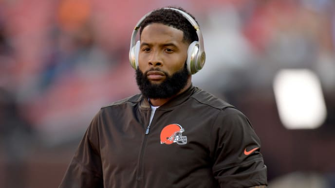 CLEVELAND, OHIO - AUGUST 08: Wide receiver Odell Beckham #13 of the Cleveland Browns warms up prior to a preseason game against the Washington Redskins at FirstEnergy Stadium on August 08, 2019 in Cleveland, Ohio. (Photo by Jason Miller/Getty Images)