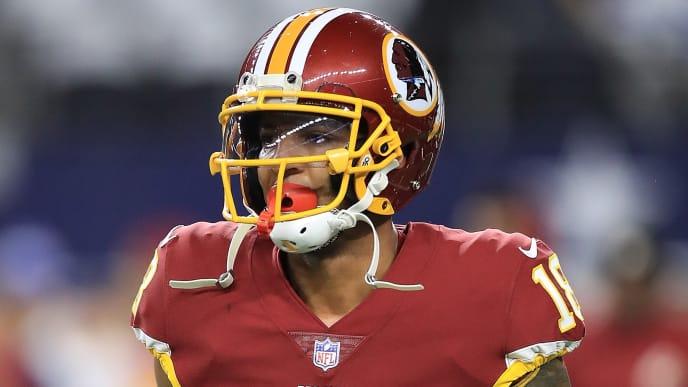 ARLINGTON, TX - NOVEMBER 30:  Josh Doctson #18 of the Washington Redskins at AT&T Stadium on November 30, 2017 in Arlington, Texas.  (Photo by Ronald Martinez/Getty Images)