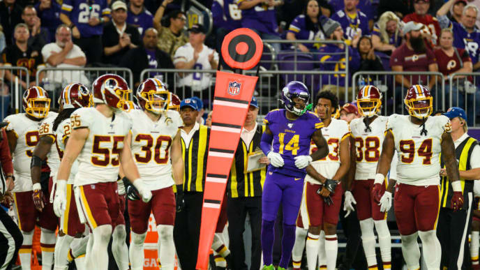 MINNEAPOLIS, MN - OCTOBER 24: Stefon Diggs #14 of the Minnesota Vikings jumps up after getting knocked out of bounds in the fourth quarter of the game against the Washington Redskins at U.S. Bank Stadium on October 24, 2019 in Minneapolis, Minnesota. (Photo by Stephen Maturen/Getty Images)
