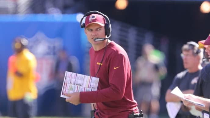 EAST RUTHERFORD, NEW JERSEY - SEPTEMBER 29: Offensive Coordinator Kevin O'Connell of the Washington Redskins calls a play against the New York Giants in the second half at MetLife Stadium on September 29, 2019 in East Rutherford, New Jersey. The Giants defeated the Redskins 24-3. (Photo by Al Pereira/Getty Images)
