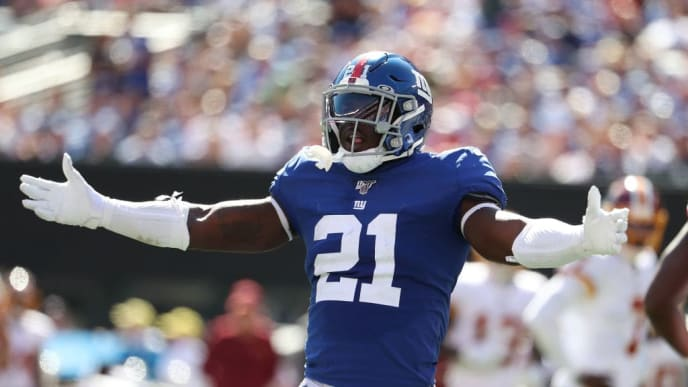 EAST RUTHERFORD, NEW JERSEY - SEPTEMBER 29:  Jabrill Peppers #21 of the New York Giants celebrates after breaking up a touchdown catch against Jeremy Sprinkle #87 of the Washington Redskins during their game at MetLife Stadium on September 29, 2019 in East Rutherford, New Jersey. (Photo by Al Bello/Getty Images)