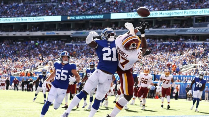 EAST RUTHERFORD, NEW JERSEY - SEPTEMBER 29:  Jabrill Peppers #21 of the New York Giants breaks up a touchdown catch against Jeremy Sprinkle #87 of the Washington Redskins during their game at MetLife Stadium on September 29, 2019 in East Rutherford, New Jersey. (Photo by Al Bello/Getty Images)