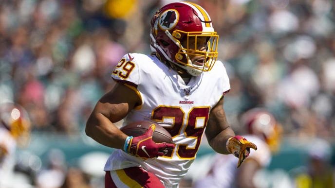 PHILADELPHIA, PA - SEPTEMBER 08: Derrius Guice #29 of the Washington Redskins runs the ball against the Philadelphia Eagles at Lincoln Financial Field on September 8, 2019 in Philadelphia, Pennsylvania. (Photo by Mitchell Leff/Getty Images)