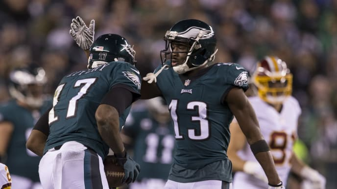PHILADELPHIA, PA - DECEMBER 03: Alshon Jeffery #17 of the Philadelphia Eagles celebrates with Nelson Agholor #13 against the Washington Redskins at Lincoln Financial Field on December 3, 2018 in Philadelphia, Pennsylvania. (Photo by Mitchell Leff/Getty Images)