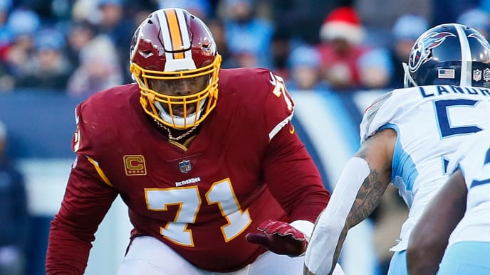 NASHVILLE, TN - DECEMBER 22:  Trent Williams #71 of the Washington Redskins plays against the Tennessee Titans at Nissan Stadium on December 22, 2018 in Nashville, Tennessee.  (Photo by Frederick Breedon/Getty Images)