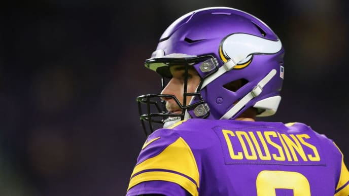 MINNEAPOLIS, MN - OCTOBER 24: Kirk Cousins #8 of the Minnesota Vikings warms up before the game against the Washington Redskins at U.S. Bank Stadium on October 24, 2019 in Minneapolis, Minnesota. (Photo by Adam Bettcher/Getty Images)