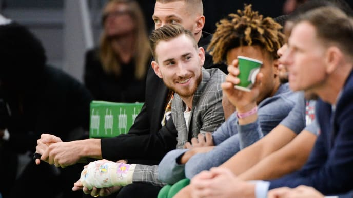 BOSTON, MA - NOVEMBER 13: Gordon Hayward of the Boston Celtics sits on the bench with a cast on his left hand during the game against the Washington Wizards at TD Garden on November 13, 2019 in Boston, Massachusetts. NOTE TO USER: User expressly acknowledges and agrees that, by downloading and or using this photograph, User is consenting to the terms and conditions of the Getty Images License Agreement. (Photo by Kathryn Riley/Getty Images)