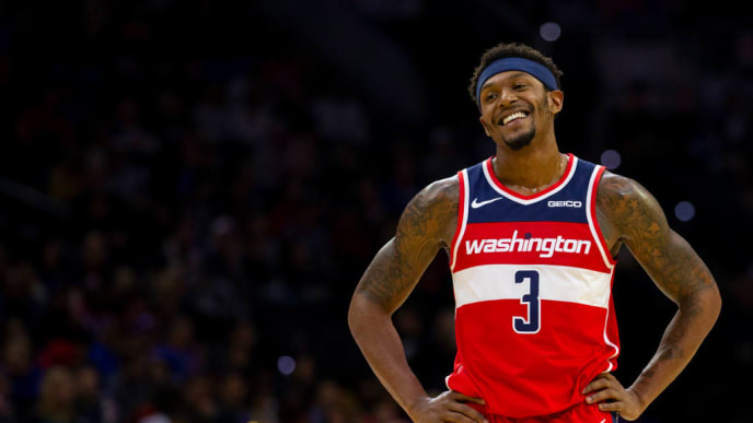 PHILADELPHIA, PA - OCTOBER 18: Bradley Beal #3 of the Washington Wizards reacts against the Philadelphia 76ers in the second quarter of the preseason game at the Wells Fargo Center on October 18, 2019 in Philadelphia, Pennsylvania. The Wizards defeated the 76ers 112-93. NOTE TO USER: User expressly acknowledges and agrees that, by downloading and or using this photograph, User is consenting to the terms and conditions of the Getty Images License Agreement.(Photo by Mitchell Leff/Getty Images)