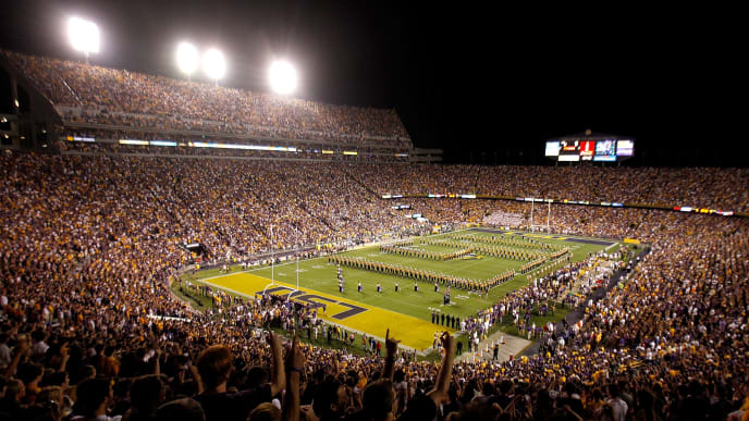 BATON ROUGE, LA - SEPTEMBER 25:  An overall view of Death Valley at Tiger Stadium before Louisiana State University played West Virginia on September 25, 2010 in Baton Rouge, Louisiana. LSU won 20-14.  (Photo by Sean Gardner/Getty Images)