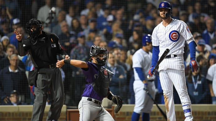 Kris Bryant at bat against the Rockies in the 2018 NL Wild Card game