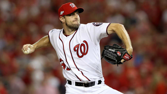 WASHINGTON, DC - OCTOBER 01: Max Scherzer #31 of the Washington Nationals throws a pitch against the Milwaukee Brewers during the first inning in the National League Wild Card game at Nationals Park on October 01, 2019 in Washington, DC. (Photo by Rob Carr/Getty Images)