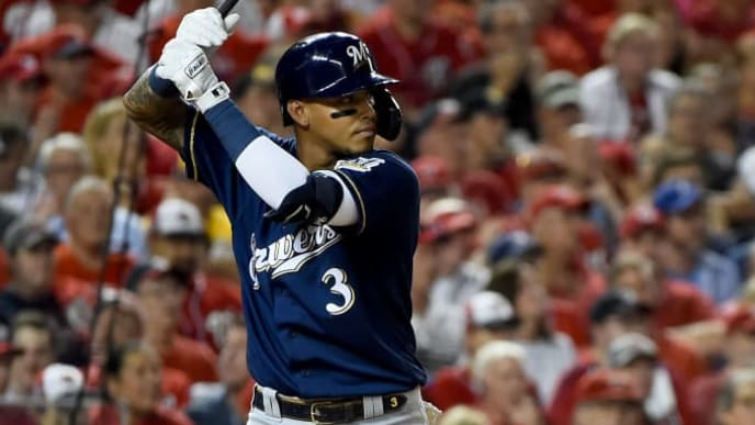 WASHINGTON, DC - OCTOBER 01: Orlando Arcia #3 of the Milwaukee Brewers at bat against the Washington Nationals during the National League Wild Card game at Nationals Park on October 1, 2019 in Washington, DC. (Photo by Will Newton/Getty Images)