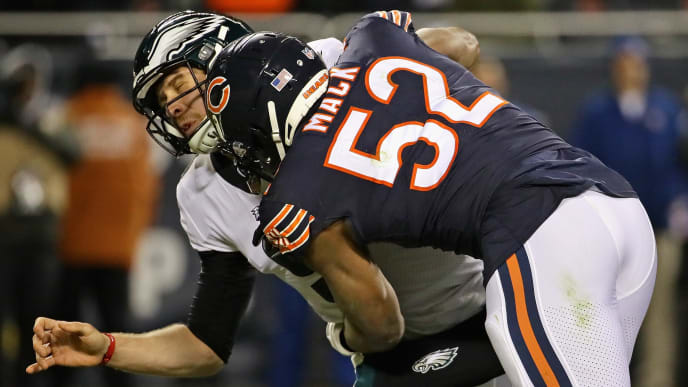 CHICAGO, IL - JANUARY 06:  Khalil Mack #52 of the Chicago Bears hits Nick Foles #9 of the Philadelphia Eagles during an NFC Wild Card playoff game at Soldier Field on January 6, 2019 in Chicago, Illinois. The Eagles defeated the Bears 16-15.  (Photo by Jonathan Daniel/Getty Images)