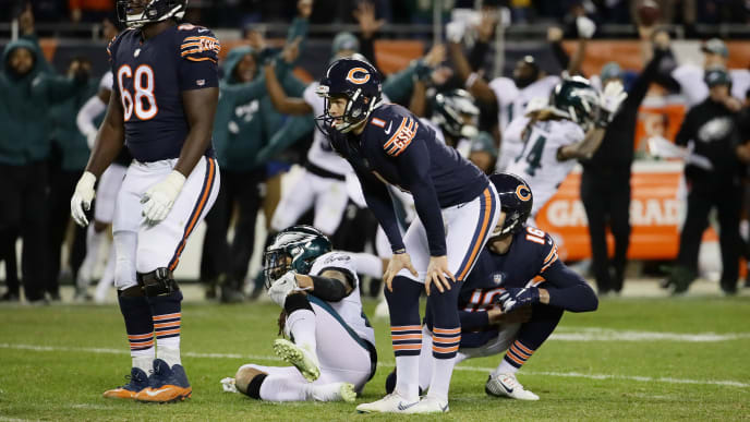 CHICAGO, ILLINOIS - JANUARY 06:  Cody Parkey #1 of the Chicago Bears reacts after missing a field goal attempt in the final moments of their 15 to 16 loss to the Philadelphia Eagles in the NFC Wild Card Playoff game at Soldier Field on January 06, 2019 in Chicago, Illinois. (Photo by Jonathan Daniel/Getty Images)