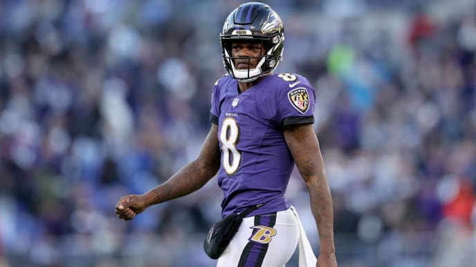 BALTIMORE, MARYLAND - JANUARY 06: Lamar Jackson #8 of the Baltimore Ravens reacts after a play against the Los Angeles Chargers during the fourth quarter in the AFC Wild Card Playoff game at M&T Bank Stadium on January 06, 2019 in Baltimore, Maryland. (Photo by Patrick Smith/Getty Images)