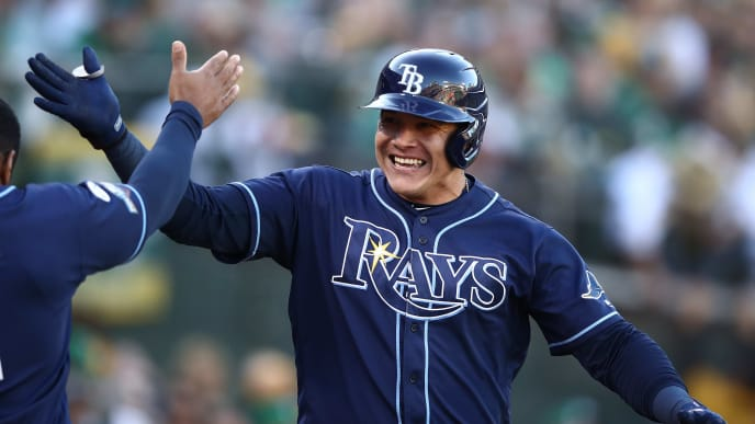 OAKLAND, CALIFORNIA - OCTOBER 02: Avisail Garcia #24 of the Tampa Bay Rays celebrates a two-run home run off Sean Manaea #55 of the Oakland Athletics in the second inning of the American League Wild Card Game at RingCentral Coliseum on October 02, 2019 in Oakland, California. (Photo by Ezra Shaw/Getty Images)