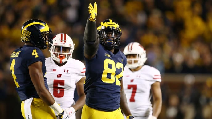 ANN ARBOR, MI - OCTOBER 13: Nick Eubanks #82 of the Michigan Wolverines celebrates a first half first down catch while playing the Wisconsin Badgers on October 13, 2018 at Michigan Stadium in Ann Arbor, Michigan. (Photo by Gregory Shamus/Getty Images)