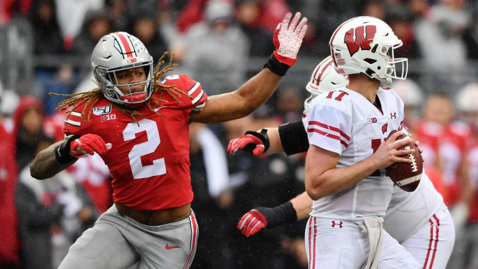 COLUMBUS, OH - OCTOBER 26:  Chase Young #2 of the Ohio State Buckeyes pressures the quarterback against the Wisconsin Badgers at Ohio Stadium on October 26, 2019 in Columbus, Ohio.  (Photo by Jamie Sabau/Getty Images)