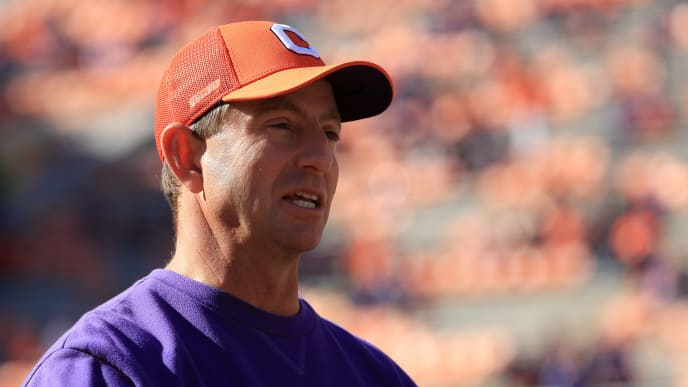 CLEMSON, SOUTH CAROLINA - NOVEMBER 02: Head coach Dabo Swinney of the Clemson Tigers watches on before their game against the Wofford Terriers at Memorial Stadium on November 02, 2019 in Clemson, South Carolina. (Photo by Streeter Lecka/Getty Images)