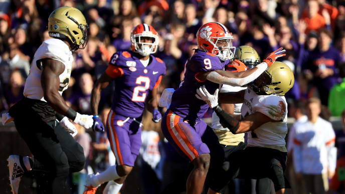 CLEMSON, SOUTH CAROLINA - NOVEMBER 02: Travis Etienne #9 of the Clemson Tigers during their game at Memorial Stadium on November 02, 2019 in Clemson, South Carolina. (Photo by Streeter Lecka/Getty Images)