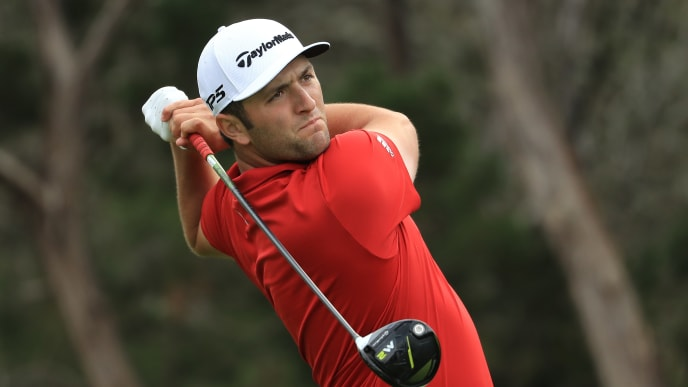 AUSTIN, TX - MARCH 26: Jon Rahm of Spain tees off on the 2nd hole of his match during the semifinals of the World Golf Championships-Dell Technologies Match Play at the Austin Country Club on March 26, 2017 in Austin, Texas. (Photo by Richard Heathcote/Getty Images)