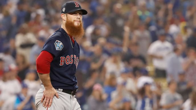 LOS ANGELES, CA - OCTOBER 27:  Closing pitcher Craig Kimbrel #46 of the Boston Red Sox pitches in the ninth inning in Game Four of the 2018 World Series against the Los Angeles Dodgers at Dodger Stadium on October 27, 2018 in Los Angeles, California.  (Photo by Sean M. Haffey/Getty Images)