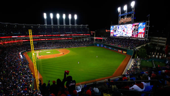 CLEVELAND, OH - OCTOBER 26:  A general view of Progressive Field during the fourth inning in Game Two of the 2016 World Series between the Chicago Cubs and the Cleveland Indians on October 26, 2016 in Cleveland, Ohio.  (Photo by Jamie Squire/Getty Images)