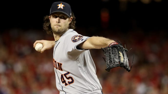 WASHINGTON, DC - OCTOBER 27:  Gerrit Cole #45 of the Houston Astros delivers the pitch against the Washington Nationals during the first inning in Game Five of the 2019 World Series at Nationals Park on October 27, 2019 in Washington, DC. (Photo by Patrick Smith/Getty Images)