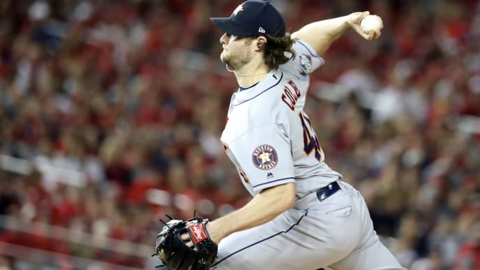 WASHINGTON, DC - OCTOBER 27:  Gerrit Cole #45 of the Houston Astros delivers the pitch against the Washington Nationals during the first inning in Game Five of the 2019 World Series at Nationals Park on October 27, 2019 in Washington, DC. (Photo by Rob Carr/Getty Images)