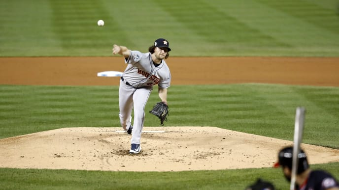 WASHINGTON, DC - OCTOBER 27:  Gerrit Cole #45 of the Houston Astros delivers the pitch against the Washington Nationals during the first inning in Game Five of the 2019 World Series at Nationals Park on October 27, 2019 in Washington, DC. (Photo by Geoff Burke - Pool/Getty Images)