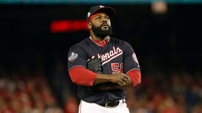 WASHINGTON, DC - OCTOBER 26:  Fernando Rodney #56 of the Washington Nationals is taken out of the game against the Houston Astros during the seventh inning in Game Four of the 2019 World Series at Nationals Park on October 26, 2019 in Washington, DC. (Photo by Patrick Smith/Getty Images)