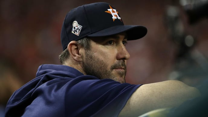 WASHINGTON, DC - OCTOBER 27:  Justin Verlander #35 of the Houston Astros looks on against the Washington Nationals prior to Game Five of the 2019 World Series at Nationals Park on October 27, 2019 in Washington, DC. (Photo by Patrick Smith/Getty Images)