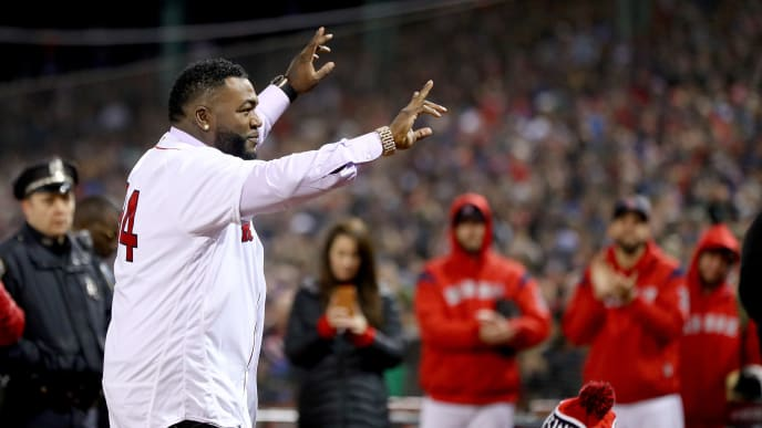 BOSTON, MA - OCTOBER 24:  Former Boston Red Sox pitcher David Ortiz throws out the ceremonial first pitch with his former teammates prior to Game Two of the 2018 World Series between the Boston Red Sox and the Los Angeles Dodgers at Fenway Park on October 24, 2018 in Boston, Massachusetts.  (Photo by Maddie Meyer/Getty Images)