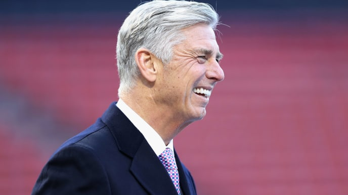BOSTON, MA - OCTOBER 22:  Dave Dombrowski, President of Baseball Operations for the Boston Red Sox, looks on during team workouts ahead of the 2018 World Series between the Los Angeles Dodgers and the Boston Red Sox at Fenway Park on October 22, 2018 in Boston, Massachusetts.  (Photo by Elsa/Getty Images)