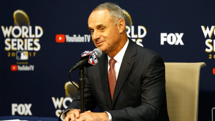 HOUSTON, TX - OCTOBER 28:  Major League Baseball Commissioner Robert D. Manfred Jr. speaks to the media during a press conference prior to game four of the 2017 World Series between the Houston Astros and the Los Angeles Dodgers at Minute Maid Park on October 28, 2017 in Houston, Texas.  (Photo by Bob Levey/Getty Images)