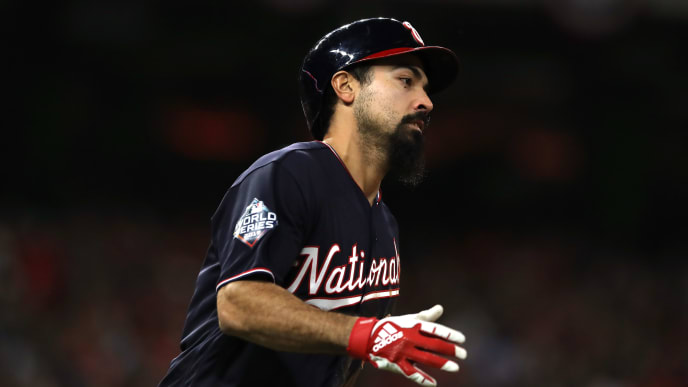 HOUSTON, TEXAS - OCTOBER 30:  Anthony Rendon #6 of the Washington Nationals hits a solo home run against the Houston Astros during the seventh inning in Game Seven of the 2019 World Series at Minute Maid Park on October 30, 2019 in Houston, Texas. (Photo by Elsa/Getty Images)