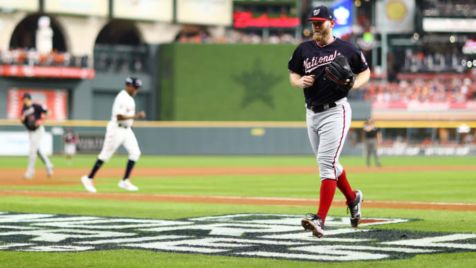 HOUSTON, TEXAS - OCTOBER 29:  Stephen Strasburg #37 of the Washington Nationals comes off the field after retiring the side against the Houston Astros during the second inning in Game Six of the 2019 World Series at Minute Maid Park on October 29, 2019 in Houston, Texas. (Photo by Mike Ehrmann/Getty Images)