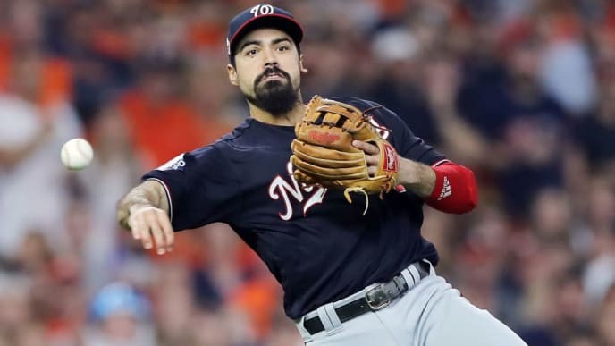 HOUSTON, TEXAS - OCTOBER 29:  Anthony Rendon #6 of the Washington Nationals throws out George Springer (not pictured) of the Houston Astros during the third inning in Game Six of the 2019 World Series at Minute Maid Park on October 29, 2019 in Houston, Texas. (Photo by Elsa/Getty Images)