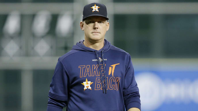 HOUSTON, TEXAS - OCTOBER 30:  AJ Hinch #14 of the Houston Astros looks on during batting practice prior to Game Seven of the 2019 World Series against the Washington Nationals at Minute Maid Park on October 30, 2019 in Houston, Texas. (Photo by Bob Levey/Getty Images)