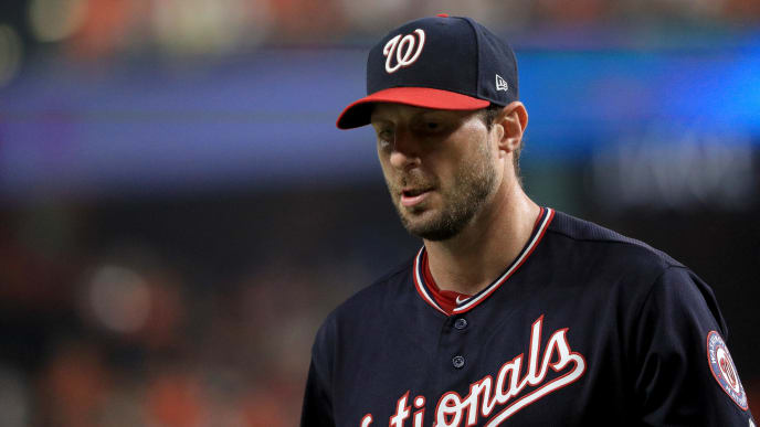 HOUSTON, TEXAS - OCTOBER 22:  Max Scherzer #31 of the Washington Nationals walks off the field after pitching during the first inning against the Houston Astros in Game One of the 2019 World Series at Minute Maid Park on October 22, 2019 in Houston, Texas. (Photo by Mike Ehrmann/Getty Images)