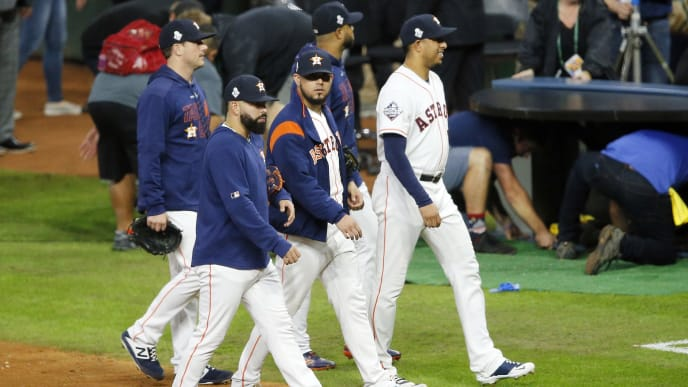 HOUSTON, TEXAS - OCTOBER 29:  The Houston Astros react after their 7-2 loss to the Washington Nationals in Game Six of the 2019 World Series at Minute Maid Park on October 29, 2019 in Houston, Texas. (Photo by Bob Levey/Getty Images)