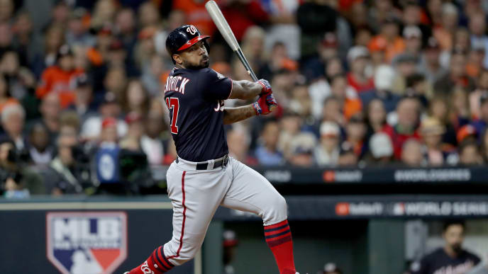 HOUSTON, TEXAS - OCTOBER 30:  Howie Kendrick #47 of the Washington Nationals hits a single against the Houston Astros during the eighth inning in Game Seven of the 2019 World Series at Minute Maid Park on October 30, 2019 in Houston, Texas. (Photo by Elsa/Getty Images)